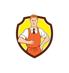Cook Chef Pointing Shield Cartoon vector image