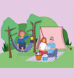Couple with tablet blanket and woman in hammock vector
