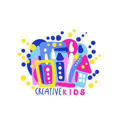 creative kids logo design colorful labels and vector image
