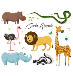Cute animals for baby wild giraffe rhinoceros vector