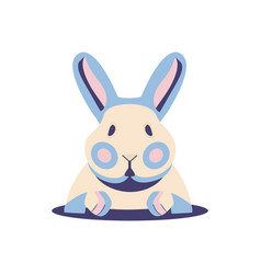 Cute flat rabbit bunny clipart for easter vector