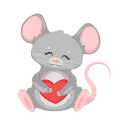 Cute rat holding heart cartoon character vector