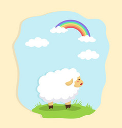 cute sheep in field and rainbow background vector image