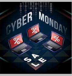 cyber monday laptop sale on yantra field vector image