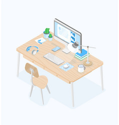 Desk with computer display table lamp earphones vector