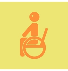 Disabled sitting on wheelchair vector