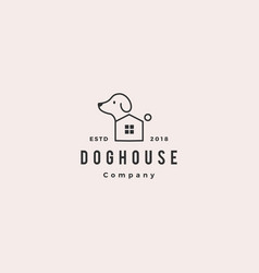 dog house pet home logo hipster retro vintage icon vector image