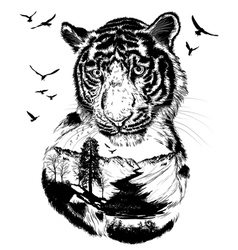 Double exposure hand drawn tiger vector