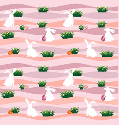 easter eggs with white rabbits in the meadow vector image