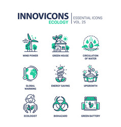 Ecology - modern color single line icon set vector