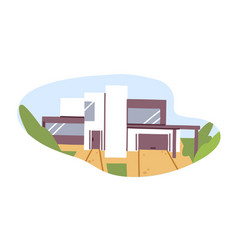 exterior of modern house building with glass vector image