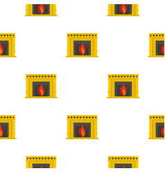 Fireplace with fire burning pattern seamless vector
