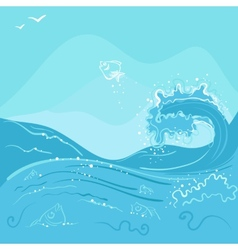 Fish jumping out of the ocean wave vector image