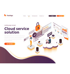 flat color modern isometric concept - cloud vector image