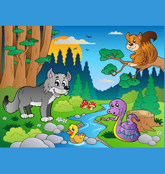Forest scene with various animals 5 vector