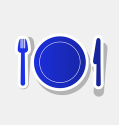 fork plate and knife new year bluish vector image
