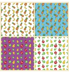 Fruits Seamless Background Set with Funny Bananas vector