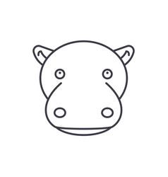 funny hippo line icon concept funny hippo vector image
