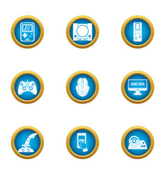 Game dev icons set flat style vector