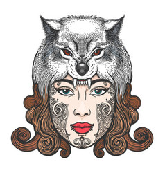 Girl with a mask of a wolf vector