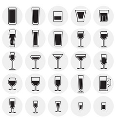 Glasses icons set on cirlces background for vector