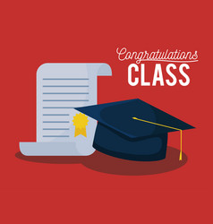 Graduation class celebration card with hat and vector