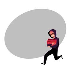 Hacker in black running away credit card fraud vector