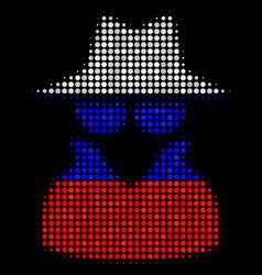 Halftone russian spy icon vector
