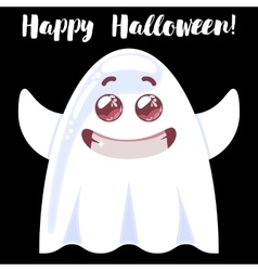 Halloween funny cartoon ghost vector