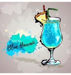 Hand drawn cocktail blue hawaii vector image