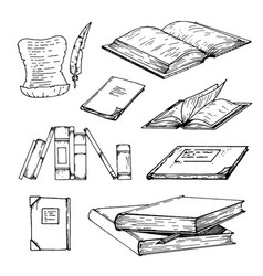 hand drawn sketch of books on vector image