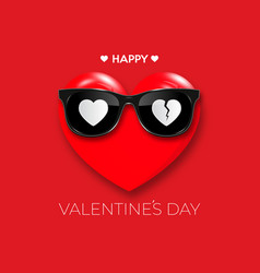 Happy valentines day red heart in black hipster vector