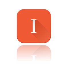 I roman numeral orange square icon with vector