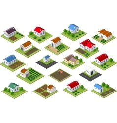 Isometric icon rural vector