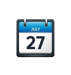 July 27 calendar icon flat vector