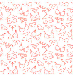 Lingerie seamless pattern with flat line icons of vector