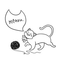 little kitten plays with a ball of threads vector image
