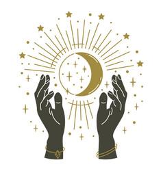 Magic hands holding moon hand drawn mystical arms vector