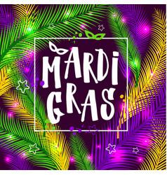 Mardi gras invitation card on palm background vector