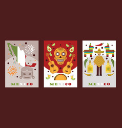 mexican symbols for souvenir cards vector image