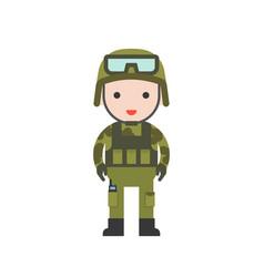 Military cute character professional set flat vector