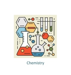Modern color thin line concept of chemistry for vector image