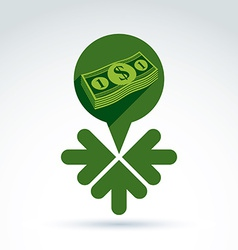 Money earning theme icon with dollar and 3 arrows vector image