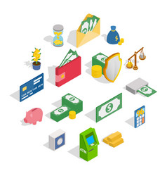 money icons set isometric 3d style vector image