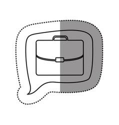 Monochrome contour sticker with executive suitcase vector