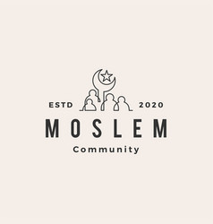 moslem people community hipster vintage logo icon vector image