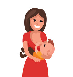 Mother breastfeeding baby child holding vector