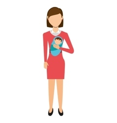 mother with baby isolated icon design vector image