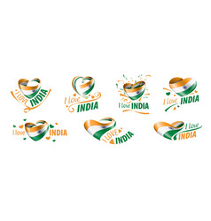 national flag india in shape a heart vector image