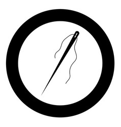 Needle the black color icon in circle or round vector